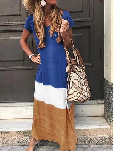 voordelige Maxi-jurken-Dames Tuniek Jurk - Kleurenblok V-hals Maxi