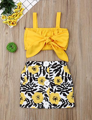 סט של בגדים כותנה קצר ללא שרוולים פפיון / דפוס פרחוני פעיל / סגנון רחוב בנות תִינוֹק / פעוטות