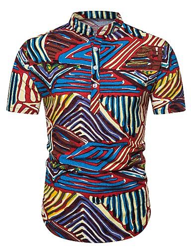 abordables Camisas de Hombre-Hombre Boho Estampado Camisa A Rayas / Bloques / Gráfico Rojo US38