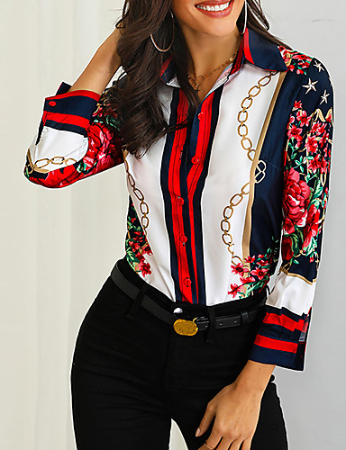 billige Dametopper-Skjortekrage Skjorte Dame - Geometrisk Vintage Regnbue