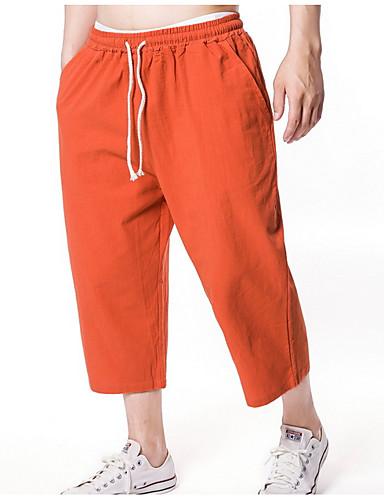 billige Herrebukser og -shorts-Herre Grunnleggende Shorts Bukser - Ensfarget Oransje Grå Kakifarget US44 / UK44 / EU52 US46 / UK46 / EU54 US48 / UK48 / EU56