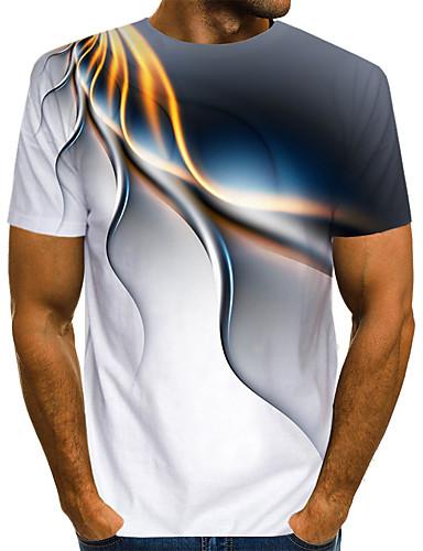 billige Tøffe T-skjorter til herrer-Rund hals EU / USA størrelse T-skjorte Herre - Fargeblokk / 3D / Grafisk, Trykt mønster Gatemote / overdrevet Klubb Hvit / Kortermet