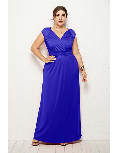 voordelige Maxi-jurken-Dames Elegant Wijd uitlopend Jurk - Effen Maxi
