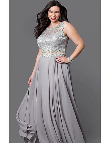 povoljno Haljine u plus veličini-ženska maxi swing haljina srebrna crna s m l xl