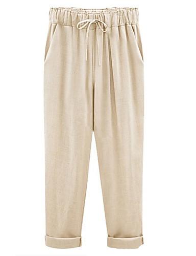 Kadın's Temel Chinos Pantolon - Solid Doğal Pembe Bej M L XL
