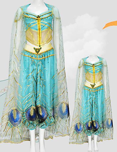 halpa Cosplay ja rooliasut-Aladdin Prinsessa Jasmine Cosplay-Asut Tyttöjen Elokuva Cosplay Mesh Mini Me Sininen Toppi Housut Shaali Lasten päivä Masquerade Tylli / Hihaton