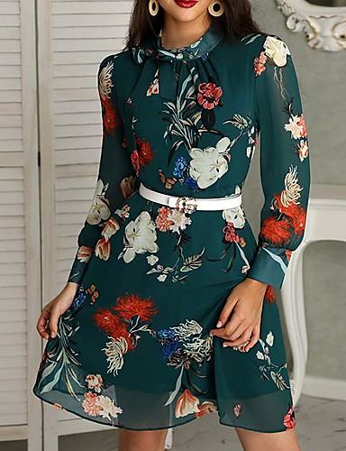 abordables Robes Femme-Femme Basique Au dessus du genou Gaine Robe Fleur Vert M L XL Manches Longues