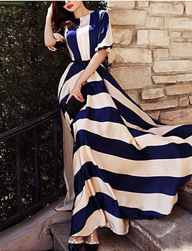 voordelige Maxi-jurken-Dames Feestdagen Elegant Wijd uitlopend Jurk - Gestreept, Print Maxi Blauw & Wit