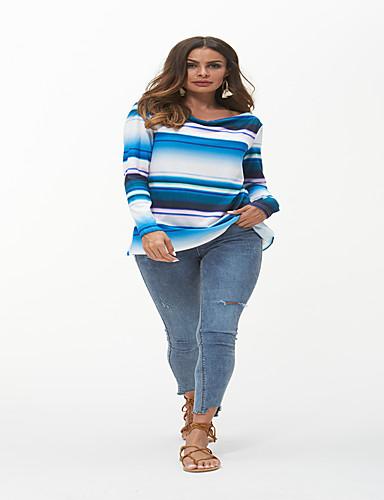 billige Topper til damer-Løstsittende V-hals T-skjorte Dame - Stripet, Lapper Grunnleggende / Chinoiserie BLå & Hvit Regnbue