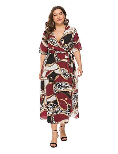 voordelige Grote maten jurken-Dames A-lijn Jurk - Luipaard, wrap Midi