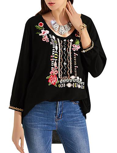billige Dametopper-Bomull Løstsittende V-hals Store størrelser Skjorte Dame - Fargeblokk / Tribal, Broderi Grunnleggende Hvit