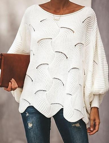 povoljno Ženske majice-Žene Jednobojni Dugih rukava Pullover, Duboki izrez Blushing Pink / Sive boje / Bijela XL / XXL / XXXL