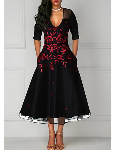 abordables Robes Femme-Femme Midi Trapèze Robe Fleur Noir XXXL XXXXL XXXXXL Manches Longues