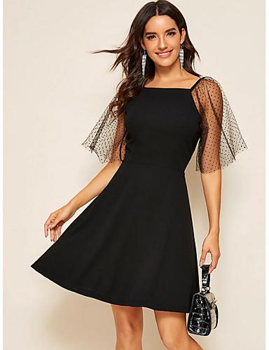 Kadın's Temel A Şekilli Elbise - Solid, Dantel Diz üstü