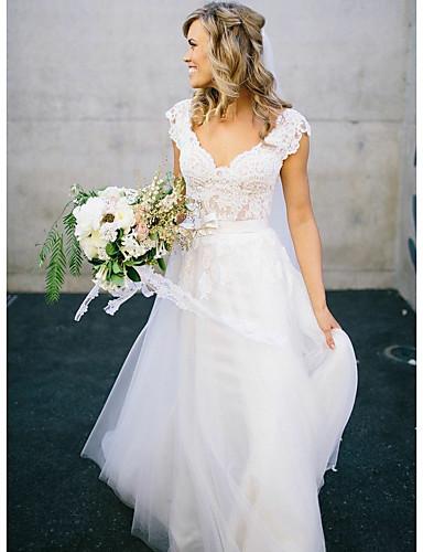 abordables Vestidos de Novia-Corte en A Escote en Pico Larga Encaje / Tul Vestidos de novia hechos a medida con Lazo(s) por LAN TING Express