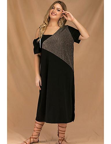 voordelige Grote maten jurken-Dames Street chic T Shirt Jurk - Effen, Patchwork Midi