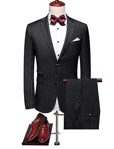 cheap 7/17-Men's Suits, Solid Colored Notch Lapel / Peaked Lapel / Shawl Lapel Rayon / Polyester Black US40 / UK40 / EU48 / US42 / UK42 / EU50 / US44 / UK44 / EU52