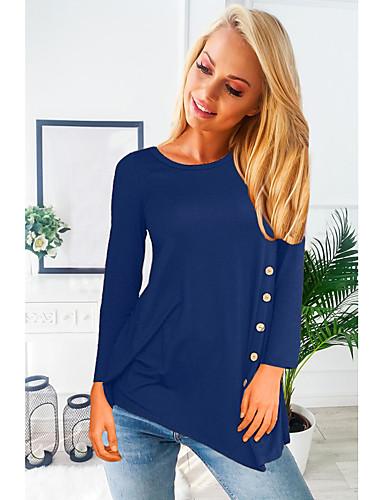 billige Dametopper-Bomull Løstsittende Store størrelser Skjorte Dame - Ensfarget Lyseblå