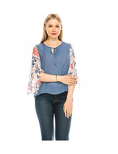 abordables Hauts pour Femmes-Tee-shirt Femme, Couleur Pleine / Géométrique Lacet / Imprimé Bohème / Chinoiserie Col en V Mince Fleur du soleil Bleu