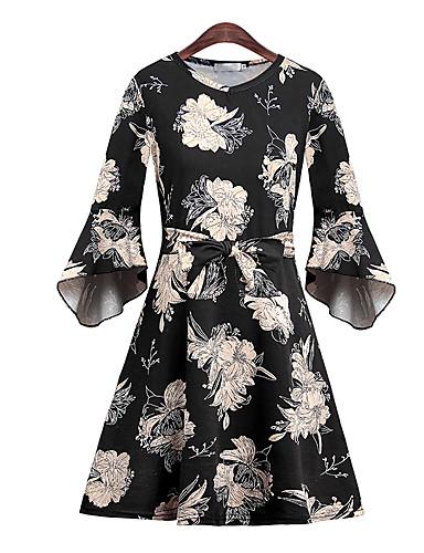 billige Kjoler-Dame Grunnleggende Elegant A-linje Skjede Kjole - Blomstret, Trykt mønster Ovenfor knéet