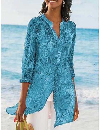 povoljno Ženske majice-Bluza Žene - Ulični šik Kauzalni Geometrijski oblici V izrez Print Plava US8 / UK12 / EU40
