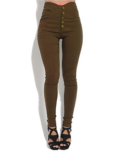 cheap Women's Bottoms-Women's Plus Size Slim Pants - Solid Colored Button High Waist Black Army Green Brown S M L