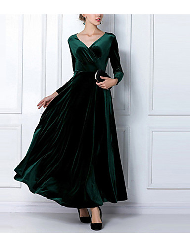 voordelige Maxi-jurken-Dames Schede Jurk - Effen V-hals Tot de knie Hoge taille / Hoge taille  / Grote maten / Ruimvallend