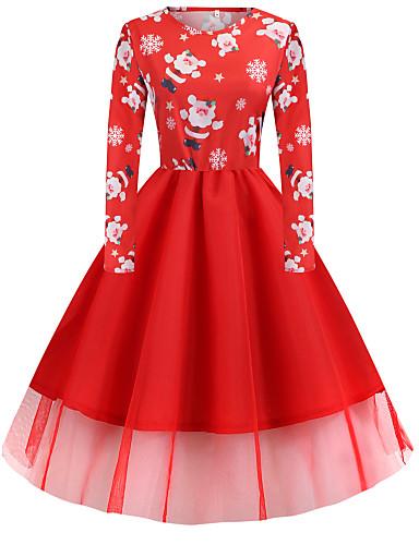Kadın's Vintage Zarif A Şekilli Elbise - Zıt Renkli Soyut Kar Tanesi, Kırk Yama Desen Midi Noel Baba Kardan Adam