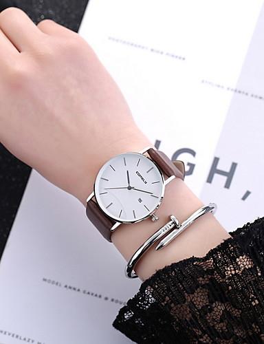 Kadın's Elbise Saat Quartz Deri Gündelik Saatler Analog Klasik - Siyah Kahverengi Gri / Paslanmaz Çelik