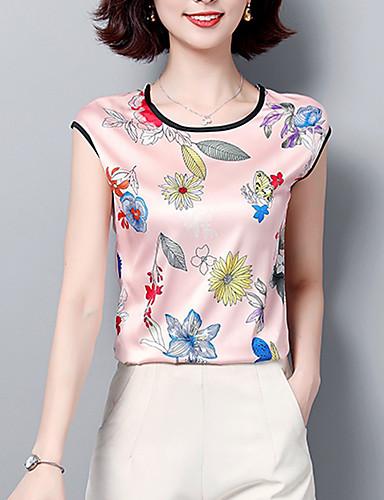 abordables Hauts pour Femmes-Tee-shirt Grandes Tailles Femme, Fleur Imprimé Business / Basique Ample Rose Claire