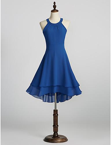 preiswerte Cocktailkleider-A-Linie Halter Knie-Länge Chiffon Cocktailparty Kleid mit durch LAN TING Express