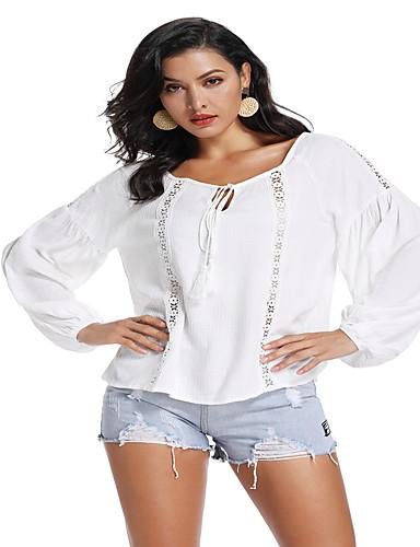 billige Topper til damer-Løstsittende T-skjorte Dame - Ensfarget, Dusk Bohem / Chinoiserie Hvit Hvit