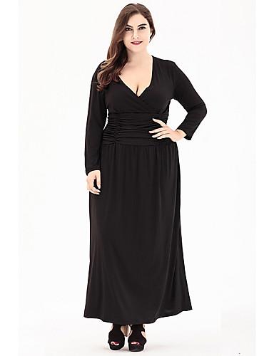voordelige Grote maten jurken-Dames A-lijn Jurk - Effen, Met ruches Maxi