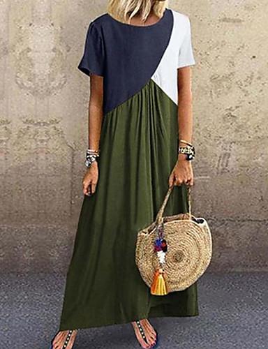 abordables Robes Femme-Femme Basique Maxi Tee Shirt Robe - Mosaïque, Bloc de Couleur Vert Gris Violet XXXL XXXXL XXXXXL Manches Courtes