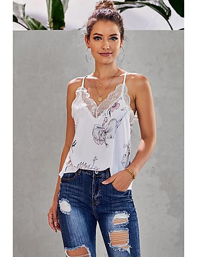 Kadın's Tişört Desen, Çizgili / Çiçekli Temel Siyah