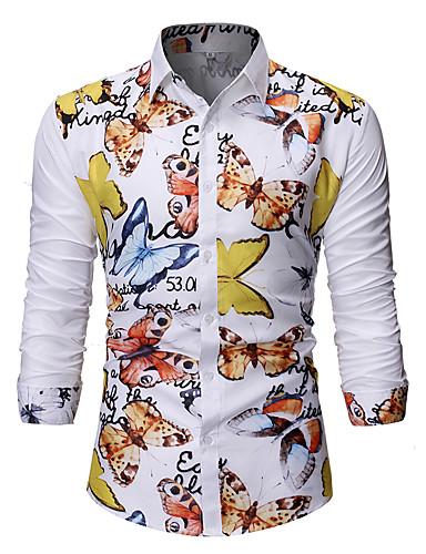 voordelige Herenoverhemden-Heren Standaard Patchwork / Print EU / VS maat - Overhemd dier Wit / Lange mouw