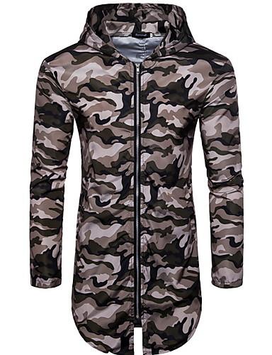 voordelige Herenjacks & jassen-Heren Dagelijks Normaal Jack, camouflage Capuchon Lange mouw Polyester Geel / Leger Groen / Khaki