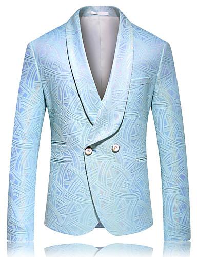 voordelige Herenblazers & kostuums-Heren Blazer, Effen / Kleurenblok / Pied-de-poule Puntige revers Rayon / Fluweel blauw / Beige / Slank