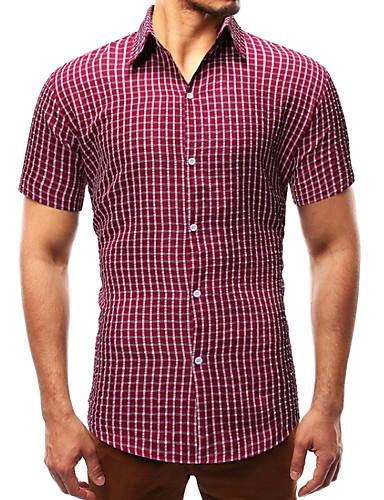 cheap Men's Shirts-Men's Daily Shirt - Plaid Blue US42 / UK42 / EU50