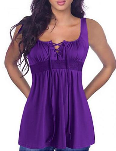 abordables Hauts pour Femmes-Débardeur Grandes Tailles Femme, Couleur Pleine - Coton Dentelle / Lacet Basique Violet
