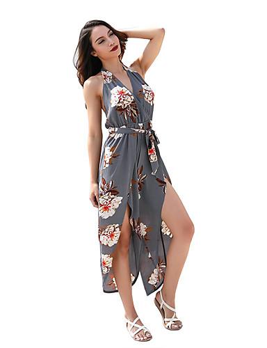 abordables Robes Femme-Femme Actif / Chic de Rue Ample Sarouel / Culotte Bouffante Pantalon - Fleur Rose, Fendu / Imprimé Taille haute Gris S M L
