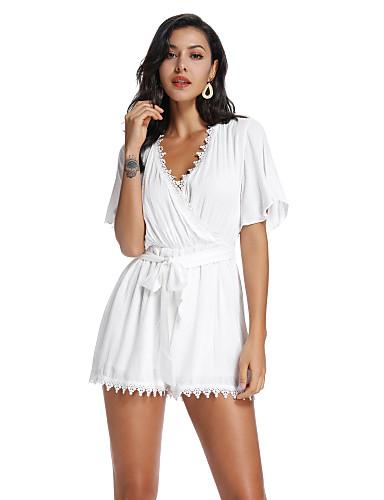 Kadın's Temel / sofistike Beyaz Tulum, Solid Büzgülü S M L