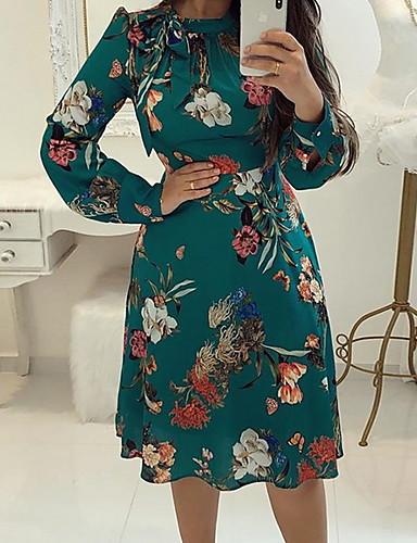 76395decf1 abordables Robes Femme-Femme Mi-long Gaine Robe Fleur Vert M L XL Manches  Longues