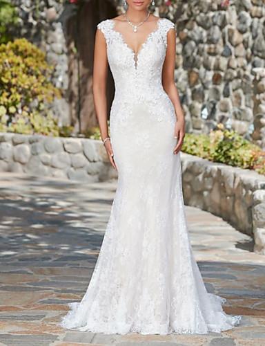 abordables Robes de Mariée 2019-Trompette / Sirène Col en V Traîne Brosse Dentelle Robes de mariée sur mesure avec par LAN TING Express