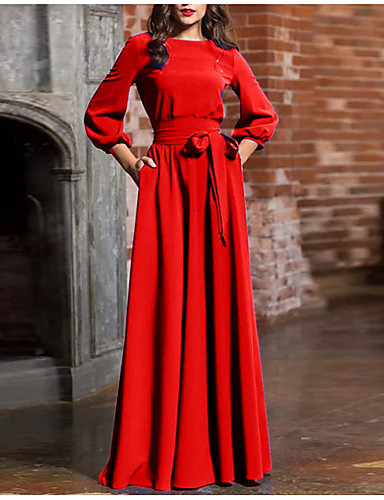 abordables Robes Femme-Femme Basique Maxi Gaine Robe - Noeud Lacet, Couleur Pleine Printemps Eté Automne Rouge Marine Vin L XL XXL Manches Longues