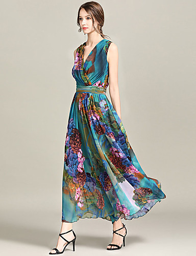 abordables Robes Femme-Femme Sophistiqué Midi Balançoire Robe - Imprimé, Arc-en-ciel Fleur du soleil Vert S M L Sans Manches