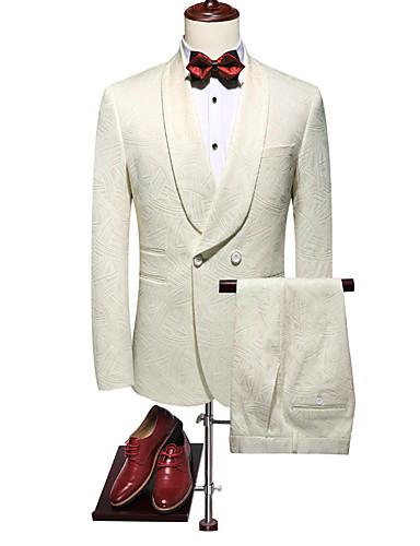 voordelige Heren T-shirts & tanktops-Heren Pakken, Effen Ingesneden revers / Puntige revers / Sjaalrevers Rayon / Polyester Wit / Slank