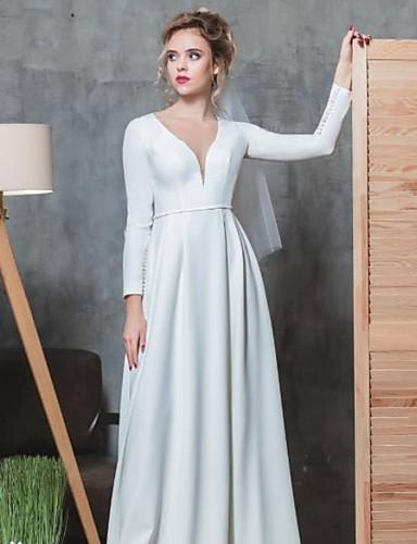 abordables robe mariage civil-Trapèze Col en V Longueur Sol Satin Elastique Robes de mariée sur mesure avec Billes par LAN TING Express