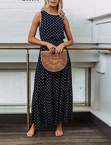povoljno Polka Dot Dresses-Žene Osnovni Šifon Haljina - Print, Na točkice Maxi
