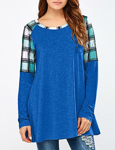 billige Topper til damer-T-skjorte Dame - Fargeblokk, Lapper Grunnleggende / Elegant Blå US8 / UK12 / EU40
